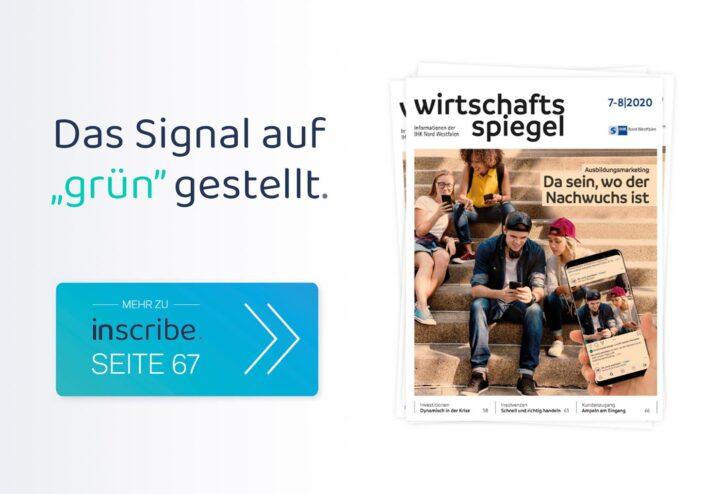 """Inscribe im Wirtschaftsspiegel des IHK Nord Westfalen: Das Signal auf """"grün"""" gestellt"""